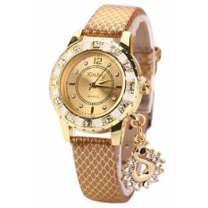 Women Watch 637287 Snakeskin Mesh Peacock Rhinestone Watch - Gold