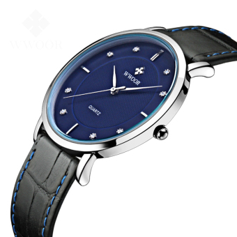 WWOOR 8011 Men Watches New Luxury Brand Ultra Thin Full Genuine Leather Clock Waterproof Male Casual Quartz WristWatch, Blue - intl