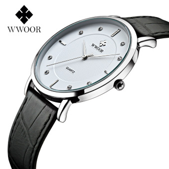 WWOOR 8011 Men Watches New Luxury Brand Ultra Thin Full Genuine Leather Clock Waterproof Male Casual Quartz WristWatch, White - intl