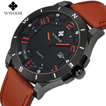 WWOOR 8014 Luxury Brand Watch Men Military Sports Watches Men's Quartz Analog 3D Face Hour Clock Male Leather Belt table Wrist Watch, Brown Orange - intl