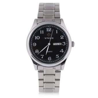 WWOOR 8805G Male Quartz Watch Water Resistance Calendar Display Stainless Steel Strap Wristwatch (Black)
