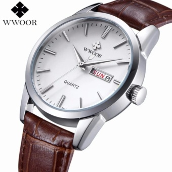 WWOOR Brand Genuine Cow Fashion Leather Band Male Date Clock Men's Casual Quartz Watch Men's Wrist Sports Watch 8801 - intl