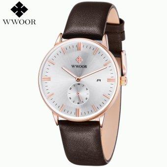 WWOOR Luxury Brand Men Genuine Leather Strap Sports Watch Jam Tangan es Men's Quartz Hour Date Clock Male Fashion Casual Wrist Watch Jam Tangan Blue 8808