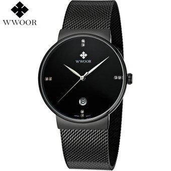 WWOOR Luxury Brand Slim Waterproof Quartz Watch Jam Tangan Men Sports Watch Jam Tangan es Male Analog Clock Silver Steel Strap Casual Watch Jam Tangan 8018