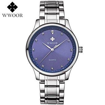 Wwoor Pria Klasik 8812 (Biru) / Jam Tangan Tipis Kantoran / Stainless Steel - Tahan Air