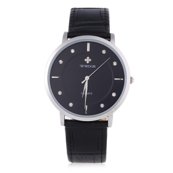 WWOOR WR - 8011 Male Quartz Watch Ultrathin Dial Artificial Rhinestone Scale Wristwatch (Black)