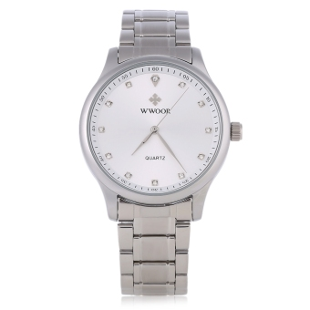WWOOR WR - 8012 Male Quartz Watch Ultrathin Stainless Steel Band Artificial Rhinestone Scale Wristwatch (White)