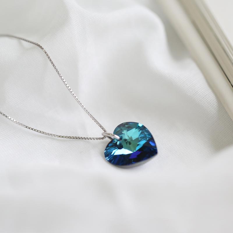 Xiaomiren S925 lucu biru asimetris sterling silver anting. Source · Xiaomiren S925 Austria kristal cinta