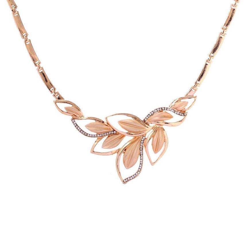 Yazilind grosir daun purfled kristal kalung gelang rantai daun anting cincin perhiasan pengantin pernikahan ditetapkan setiap