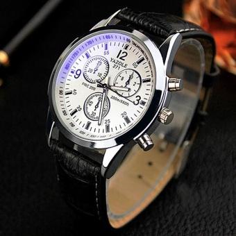 YAZOLE 271 Men Business Fashion Quartz Watches White Black - intl