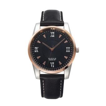 YAZOLE 397 Fashion Leather Business Quartz Men Black Watch - intl