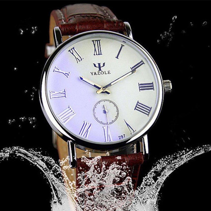 Yazole Adapula Tipis Kaca Dua Jarum Jam Vintage Waterproof (Putih + Coklat)