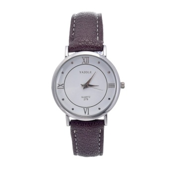 Yazole High-end Casual Classic Roman Numerals Watch (White/Brown) - intl