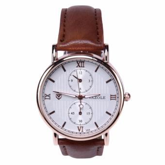 YAZOLE Jam Tangan Pria Quartz Wristwatches 355 - Coffee White