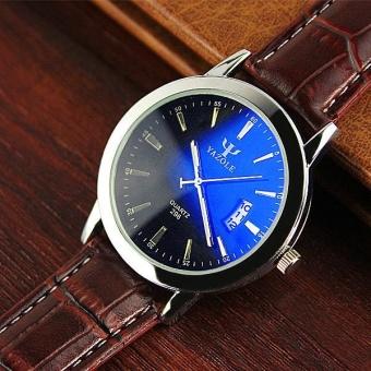 YAZOLE Men's Watch Waterproof Luminous Quartz Watch 296 Calendar (Black/Brown) - intl
