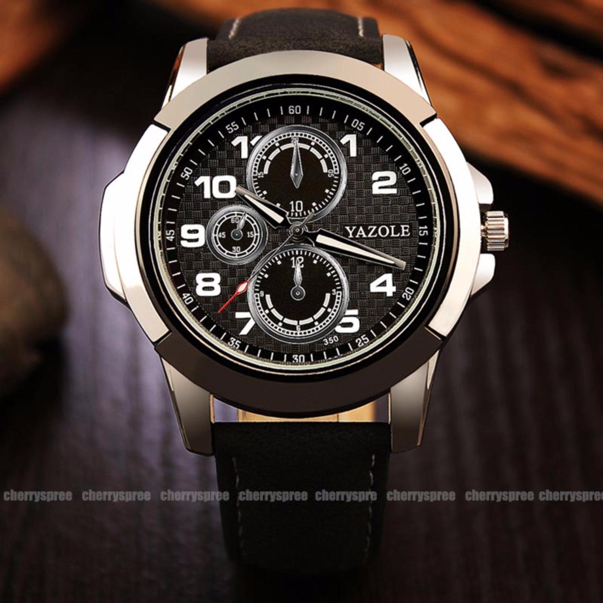 Harga Baru Yazole Original Barcelona Yz350 Jam Tangan Kulit Pria Top 296 Business Quartz Watches Black Dial Luxury Watch Men Male