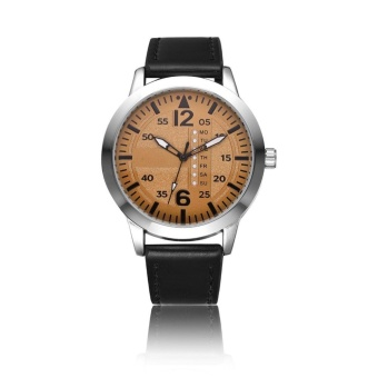 YBC Casual Men Watch PU Leather Stap Quartz Watches Waterproof Wristwatch - intl