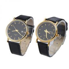 YBC Fashion Mewah Kulit Strap Wrist Watch Kuarsa Untuk PasanganPria Hitam