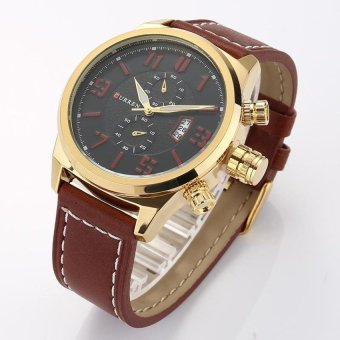 YBC Men Fashion PU Leather Strap with Date Display Sport Watches - intl