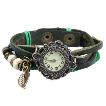 YBC Women Vintage Braided Rope Faux Leather Quartz Bracelet Wrist Watch Green - intl
