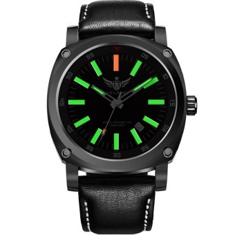 YELANG v3.3.3 Super Orange Tritium Gas Luminous Sapphire Glass Leather Strap Waterproof Titanium Alloy Case Men Watch