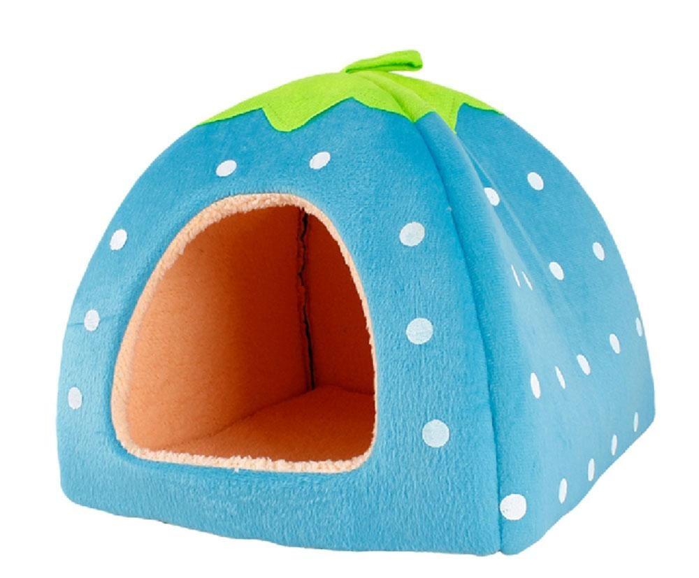 yesefus Unique Cute Strawberry Shape Pet House Cat Dog Puppy Bed(Blue, M) - intl