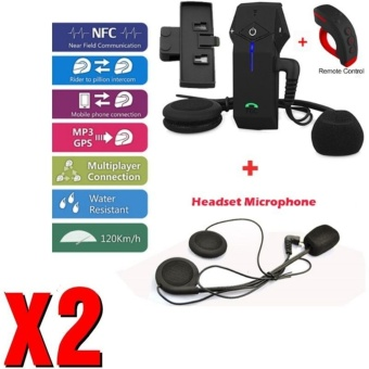 Yika Helmet Intercom Headset Remote Control Motorcycle BluetoothInterphone NFC FM - intl