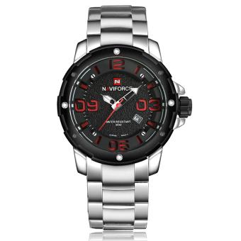 Yika Men Sport Military Stainless Steel Analog Date Quartz Wrist Watch (White+Red)
