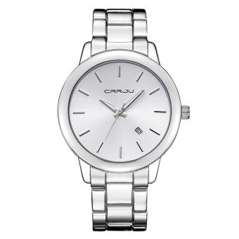Yika Men Stainless Steel Date Quartz Analog Sport Wrist Watch (White)