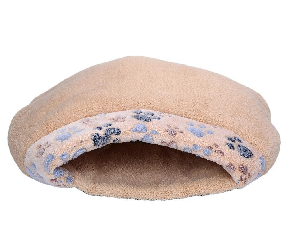 yydsop Kitten Sleep Bed With Paw Print Windproof Winter Cat HouseFor Cats Puppy And Rabbits. - intl