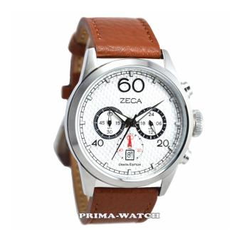 Zeca - Z240M - Jam Tangan Pria - Leather Strap (Brown White)