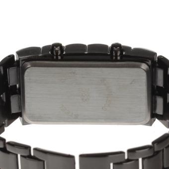 ZUNCLE Stylish 8-LED Blue Light Digit Stainless Steel BraceletWrist Watch-1 x CR2016 (Black)