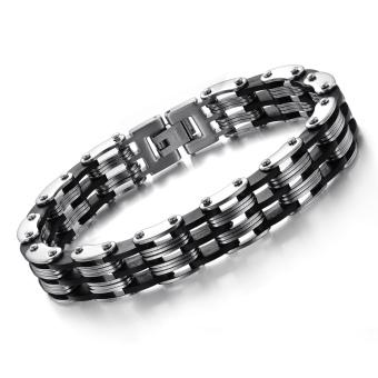 ZUNCLE Swiss fashion klasik kepribadian baja titanium gelang priahadiah perhiasan grosir (hitam + Silver)