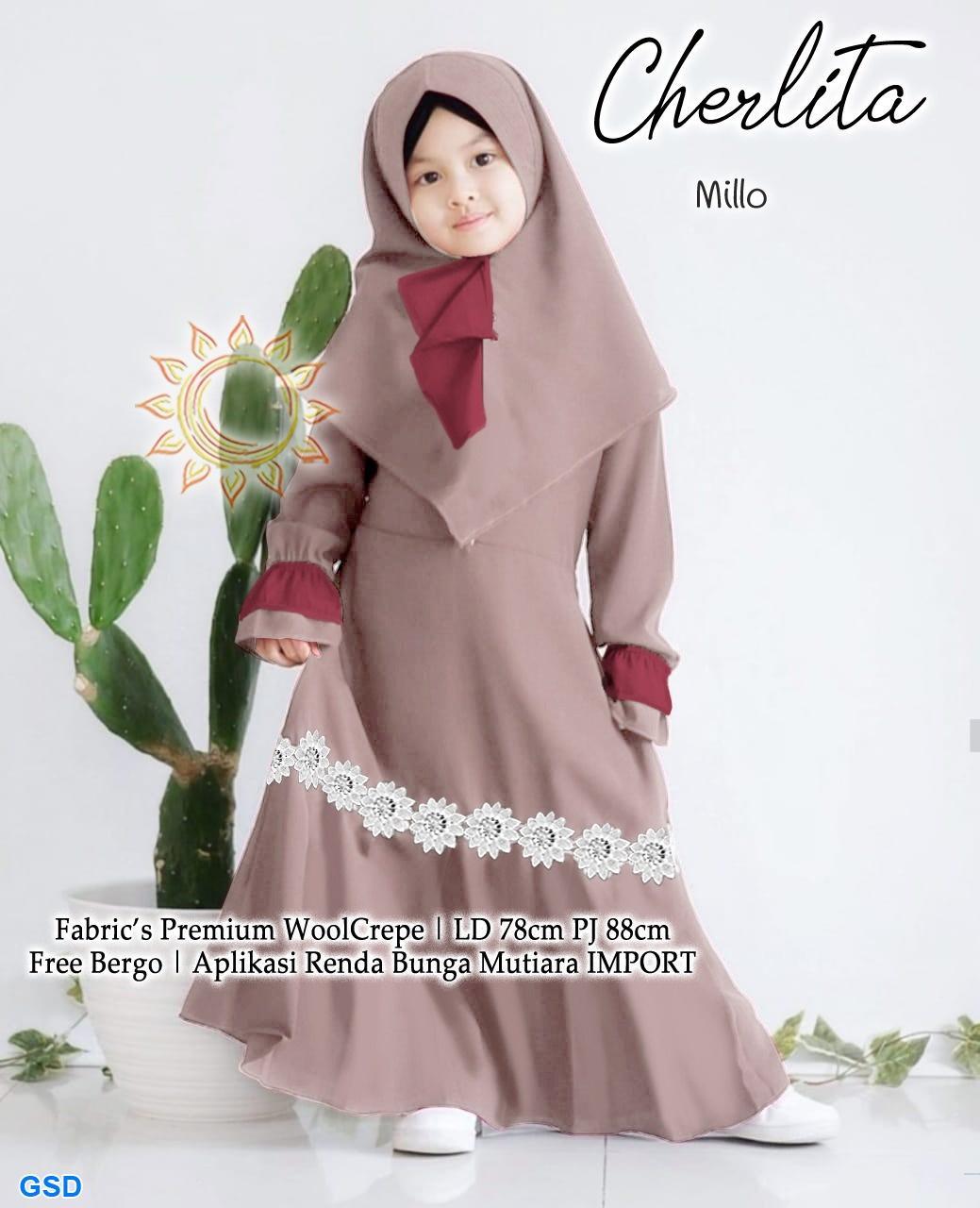 KP-Gamis anak umur 12-12 tahun / Maxi muslim anak / baju mengaji anak  perempuan / Gamis woolcrepe murah / Gamis Cherlita / syari Genice