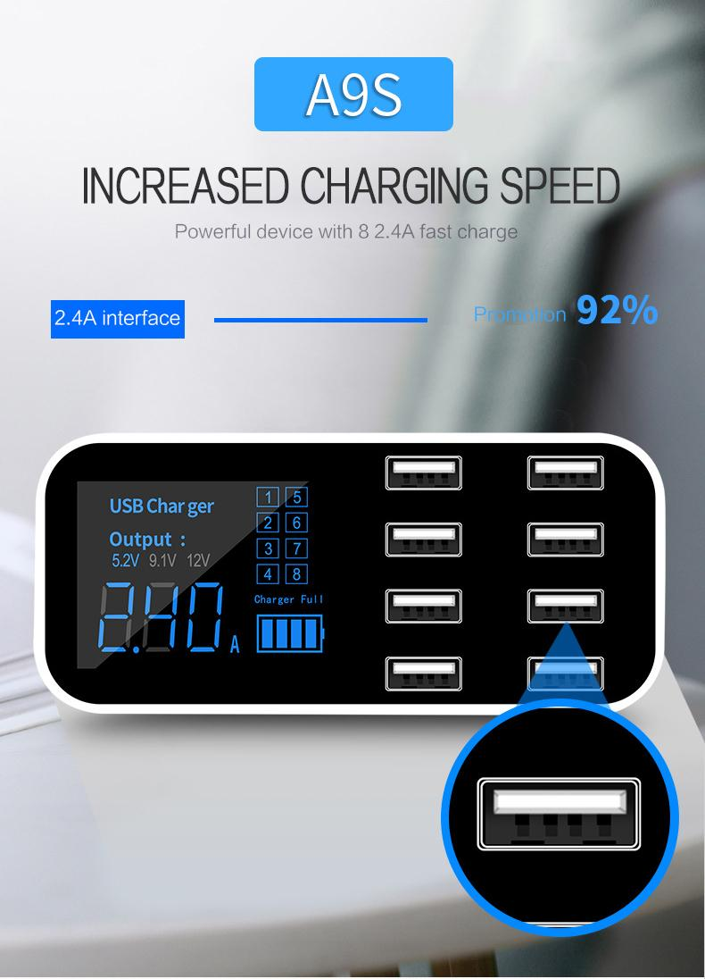 hot-8-Port Portable USB Hub Fast Charger Power Adapter with Smart IC Auto Det…