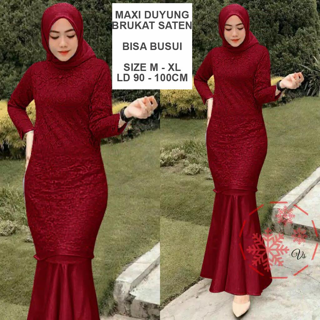 Nusantara Gamis Pesta Brukat Duyung Fashion Busana Gaun Pesta Brokat Party Maxi Dress Remaja Mermaid Kebaya Pesta Brokat Modern Duyung Wisuda Remaja Kondangan Muslimah Muslim Wanita Brukat Mermaid Hijaber Trendy Kekinian Terbaru
