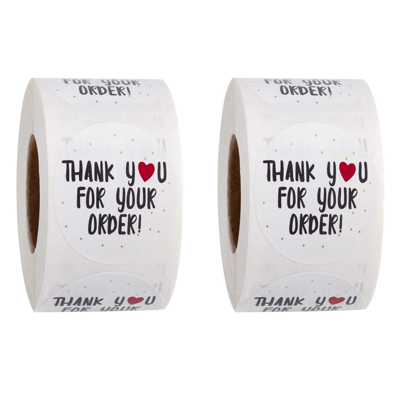 1000pcs Round Thank You For Your Order Sticker Heart Thanks For Shopping Small Shop Local Handmade Sticker White Labels Sticker Lazada Indonesia