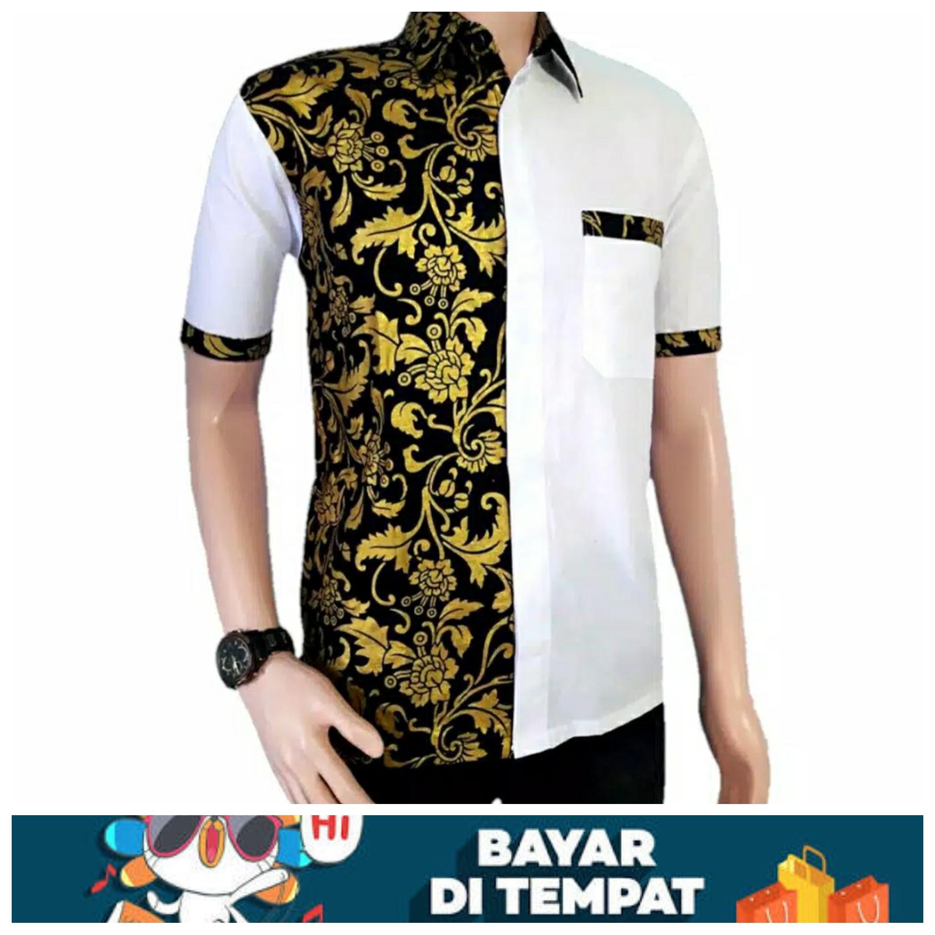 Batik Pria Batik Pekalongan Kemeja Batik Pria Lengan Pendek Baju Batik Pria Kemeja Pria Kombinasi Miring Lengan Pendek