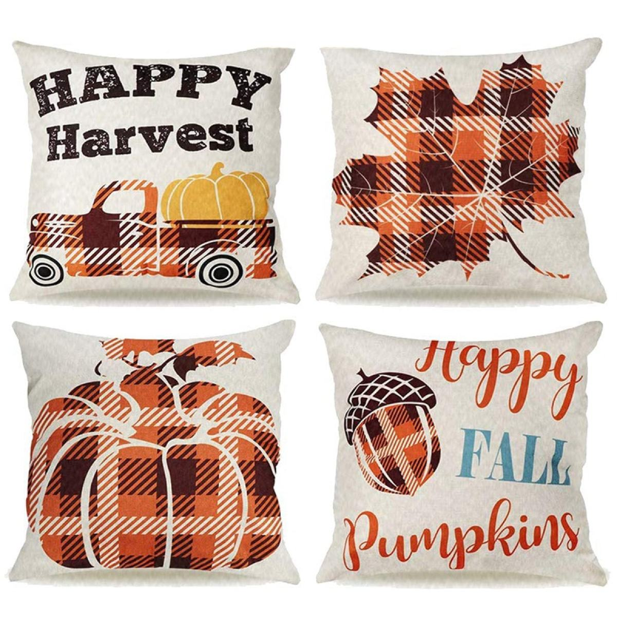 Fall Pillow Covers 18x18 Inch Set Of 4 Double Sided Truck Leaves Buffalo Check Throw Pillows For Fall Decor Farmhouse Lazada