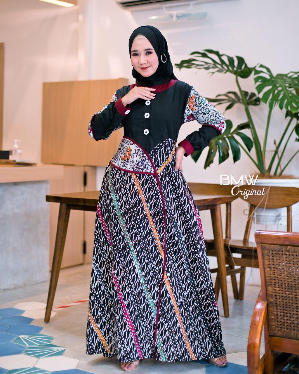 gamis etnik gamis batik premium kombinasi polos Ekslusif Long Dress Gamis  Panjang Pakaian wanita Terbaru gamis muslimah Gamis Cap Gamis Jumbo batik