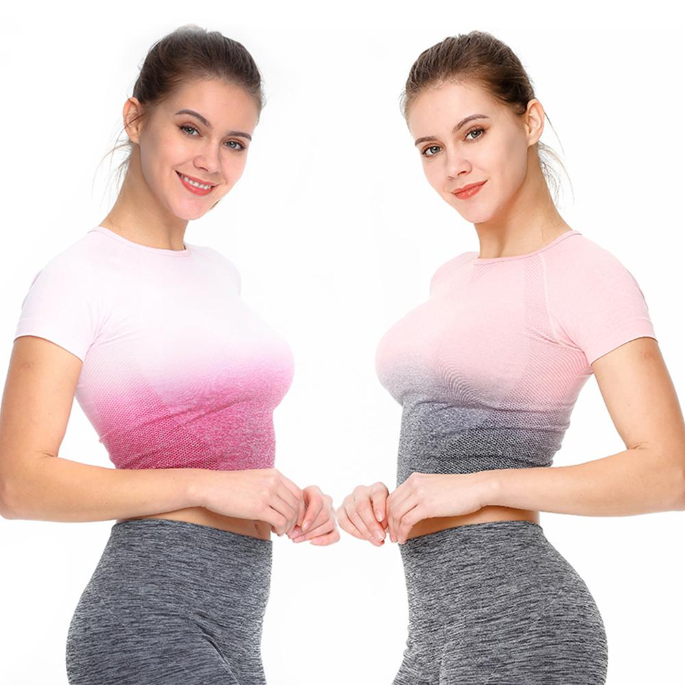 New Seamless Gradient Tops Yoga Wear Womens Gym Fitness Sports Fashion Short-sleeved T-shirt Wrench
