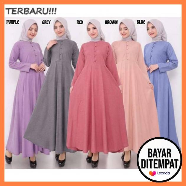 Gamis Wanita Remaja Mewah Model Modern Murah Baju Muslim Perempuan Dewasa Kekinian Viral Simpel Dress Korean