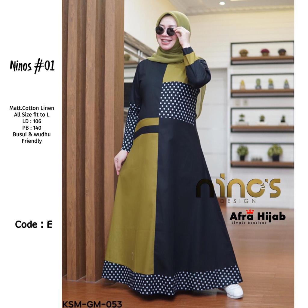 COD Realpict Gamis Ninos 10 Cotton Linen Busui Dan Wudhu Friendly  Gamis  Couple Desain Simple & Terbaru  Model Gamis & Tunik Lebaran Terbaru 10