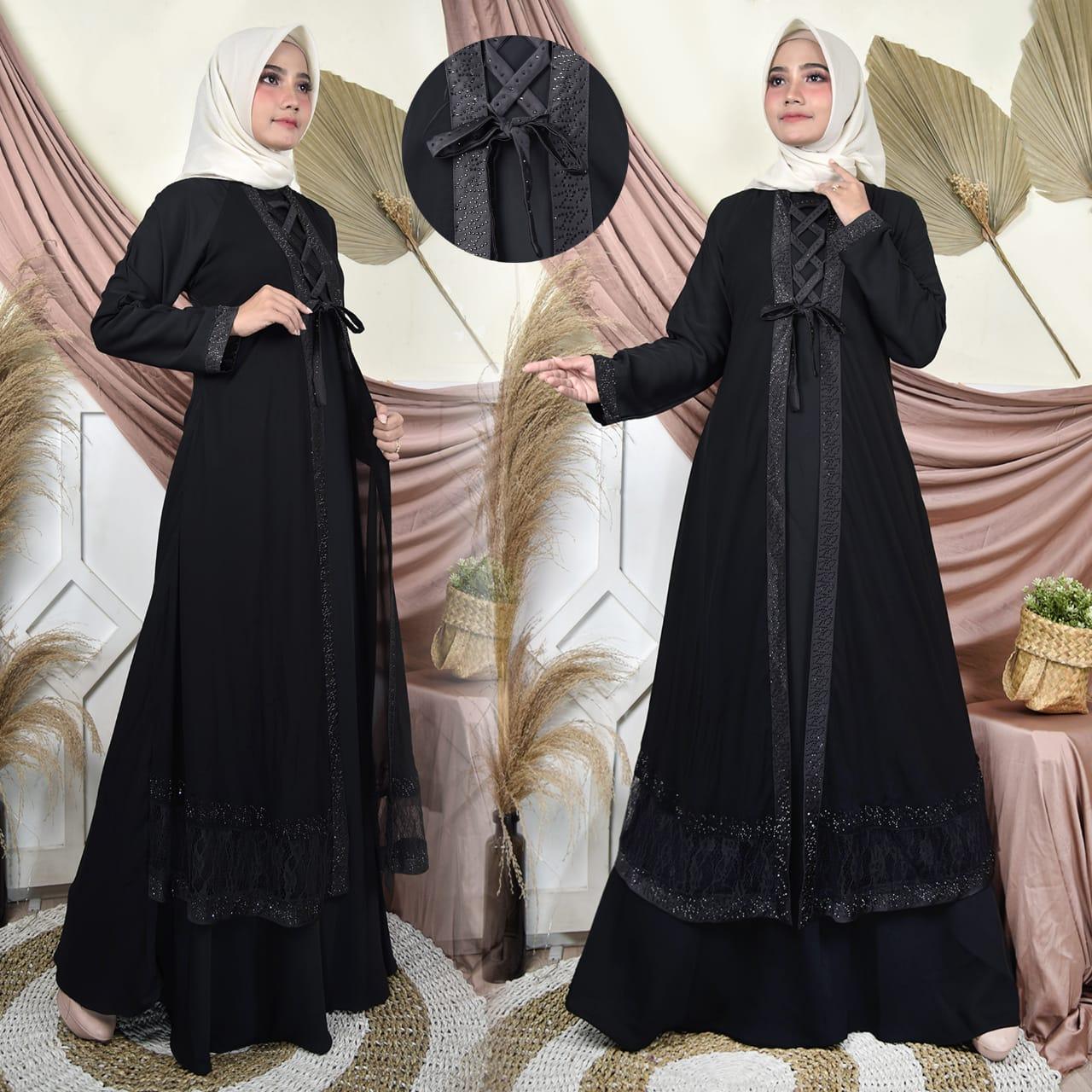 Abaya Sabyan Brokat/Gamis Turkey/Gamis Arabian/Gaun Hitam long Dress