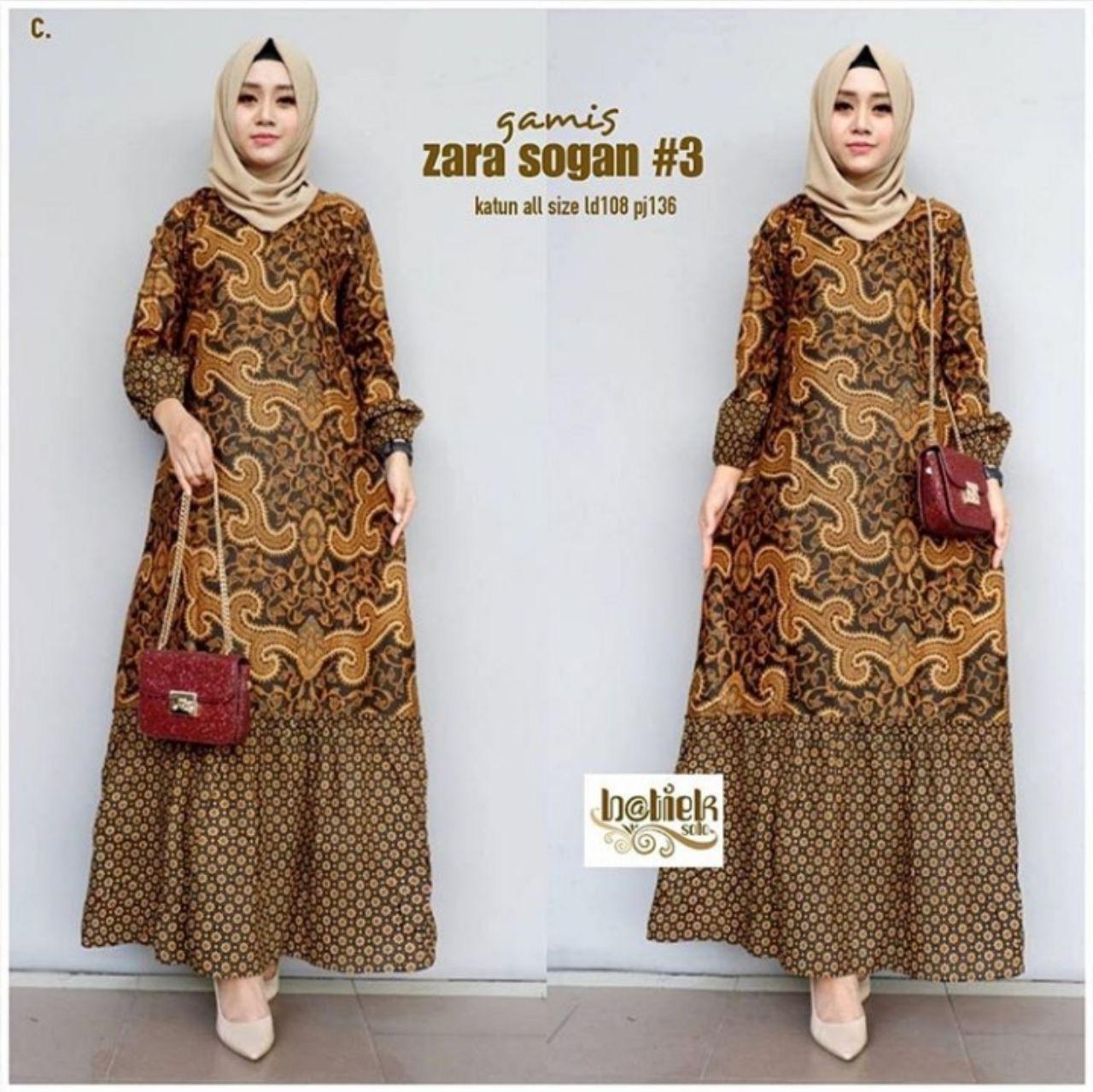 Gamis Batik Kombinasi Dress Batik Baju Muslim Wanita Gamis Syari bawah Klok  Katun Halus