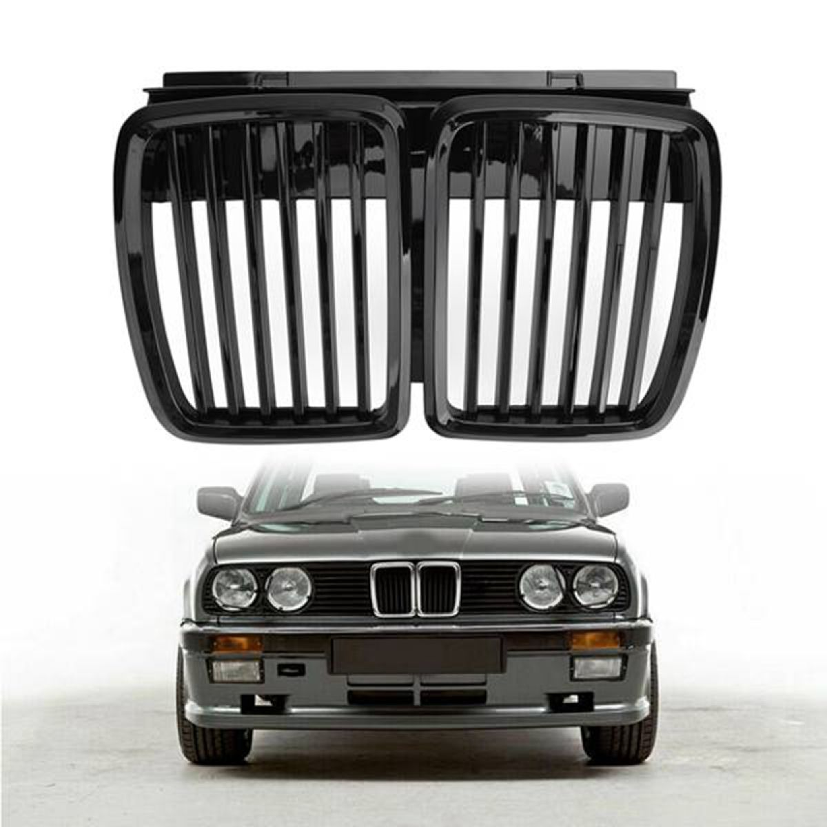 Glossy Black Car Front Bumper Kidney Grilles For Bmw E30 Sedan Cabrio 1982 1994 Replacement Racing Grilles Lazada