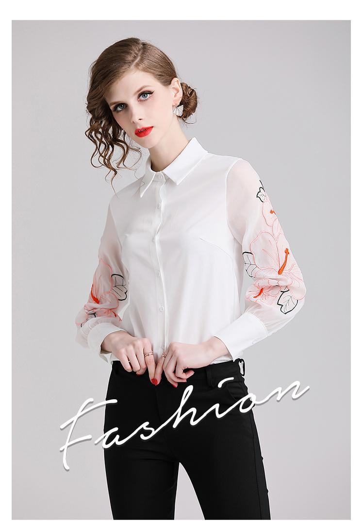 b3f9b89a9e0b Blouse Women 2019 New Fashion Slim Lantern Sleeves Perspective Long ...