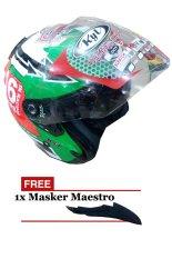 KYT Galaxy Slide Helm Pria dan Wanita - Hijau-Merah - ABS Orisinil - KYT231