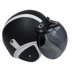 Matrix Helm - Helm Bogo Retro Hitam Garis Putih