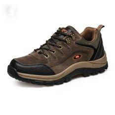 Men Hiking Shoes Climbing Outdoor Athleti Trail Footwear Waterproof Brown (Intl)